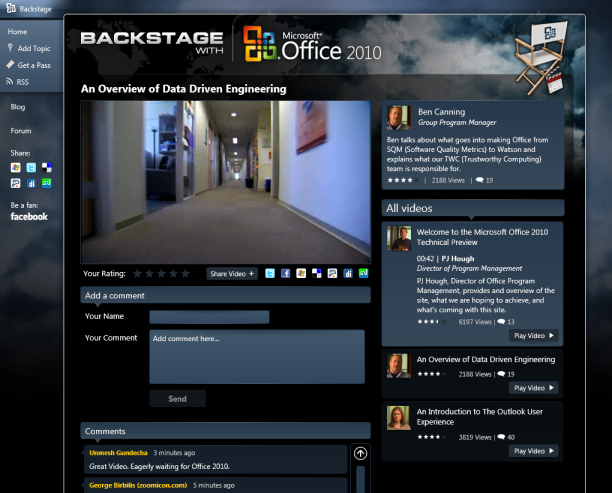 Screenshot of Office 2010 Backstage site