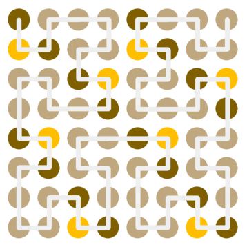 Third-order Hilbert curve for the 8x8 grid, showing constant bits for uppercase ASCII characters
