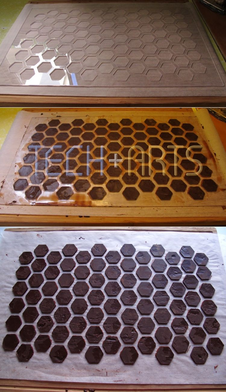Using my custom stencil to create chocolate bases